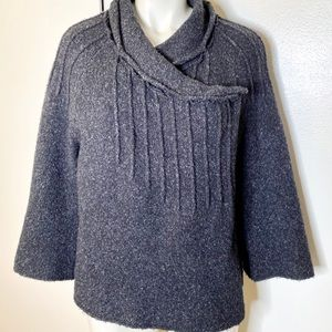 Relays Grey Marled pleated Wrap Button Sweater L